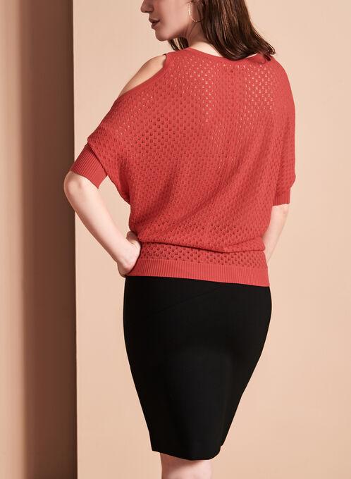 Scoop Neck Cold Shoulder Sweater, Red, hi-res