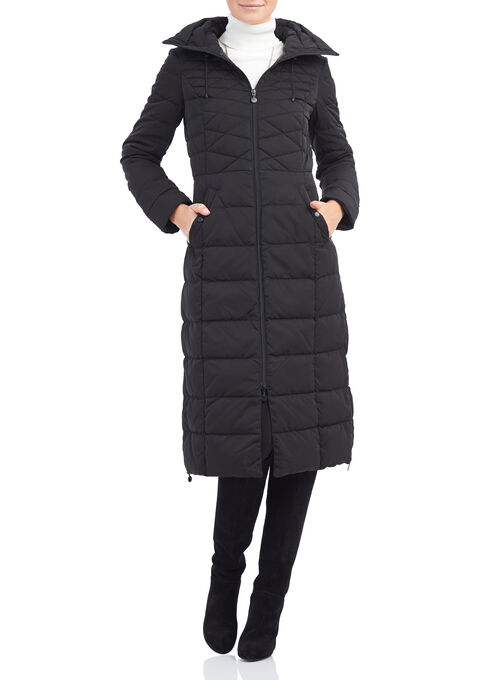 Bernardo Quilted Down Coat, Black, hi-res