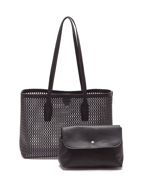 Perforated Studded Tote Bag, Black, hi-res