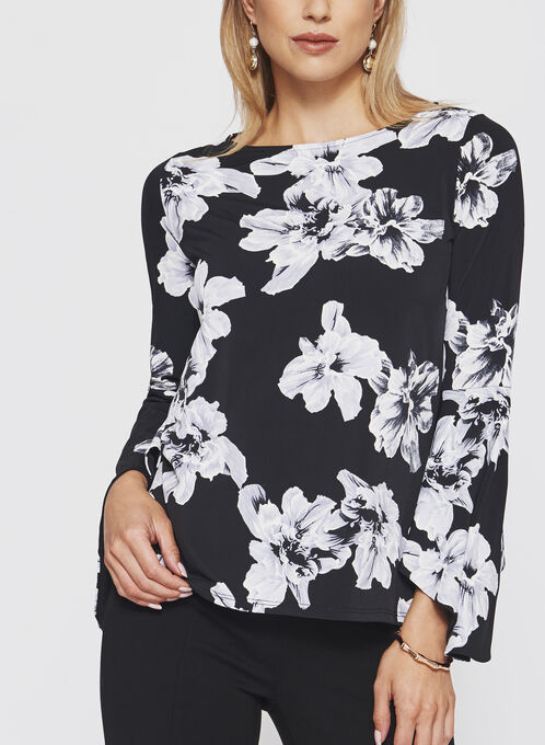 Floral Print Bell Sleeve top , Black, hi-res