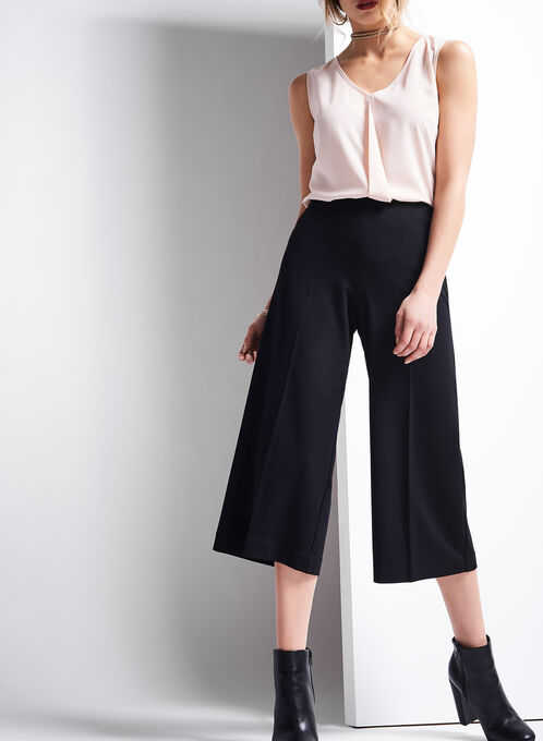 Ponte Wide Leg Pants , Black, hi-res