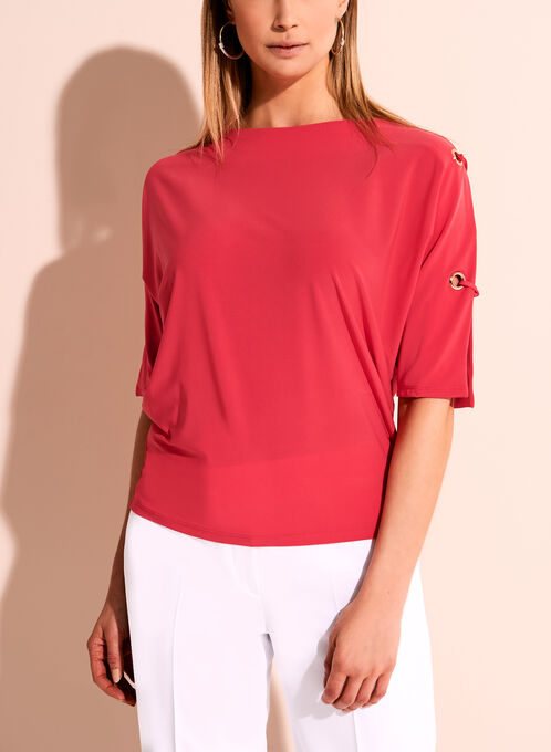 Cold Shoulder Grommet Knit Top, Red, hi-res