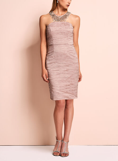 Embellished Crushed Sheath Dress, Pink, hi-res