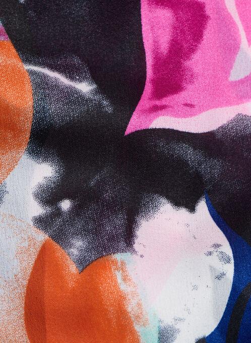 Oblong Floral & Checker Print Scarf, Blue, hi-res