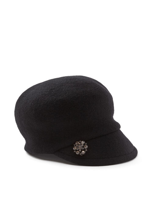 Crystal Embellished Newsboy Hat, Black, hi-res