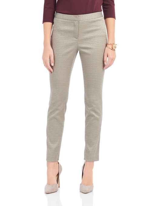 Jacquard Slim Leg Pants, Grey, hi-res