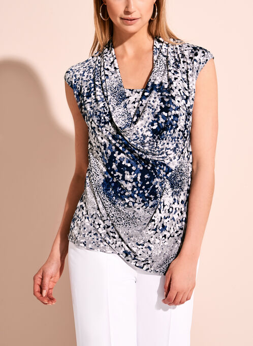 Abstract Dot Print Cowl Neck Top, Blue, hi-res