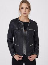 Faux Suede Studded Jacket, Black, hi-res