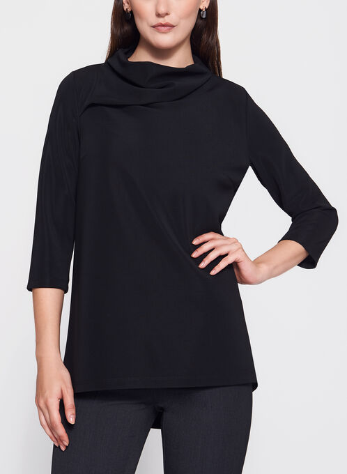 3/4 Sleeve Drape Neck Top, Black, hi-res