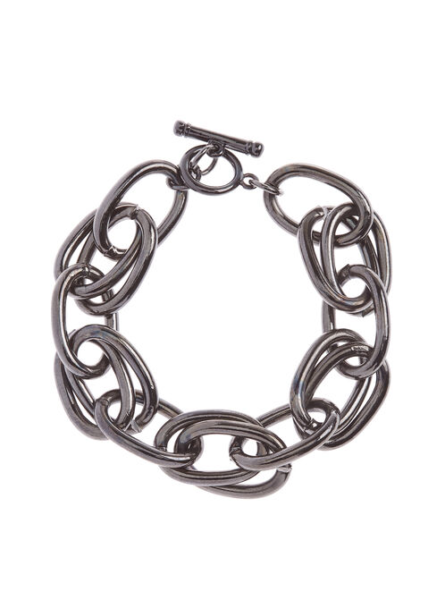Chain Link Toggle Bracelet, Grey, hi-res