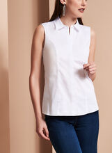 Sleeveless Button Down Poplin Shirt, , hi-res