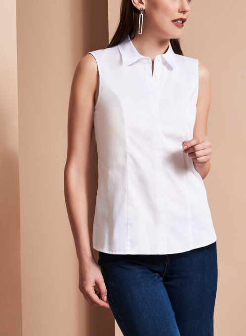 Sleeveless Button Down Poplin Shirt, White, hi-res