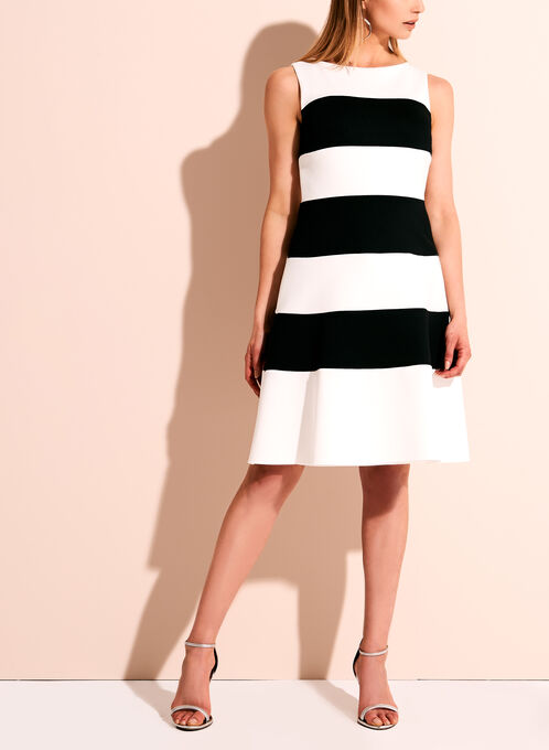 Frank Lyman Stripe Print Scuba Dress, Black, hi-res
