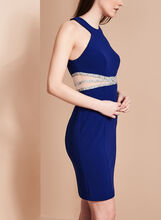 Halter Neck Illusion Waist Dress, Blue, hi-res