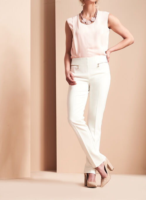 Bi-Stretch Slim Leg Pants, Off White, hi-res