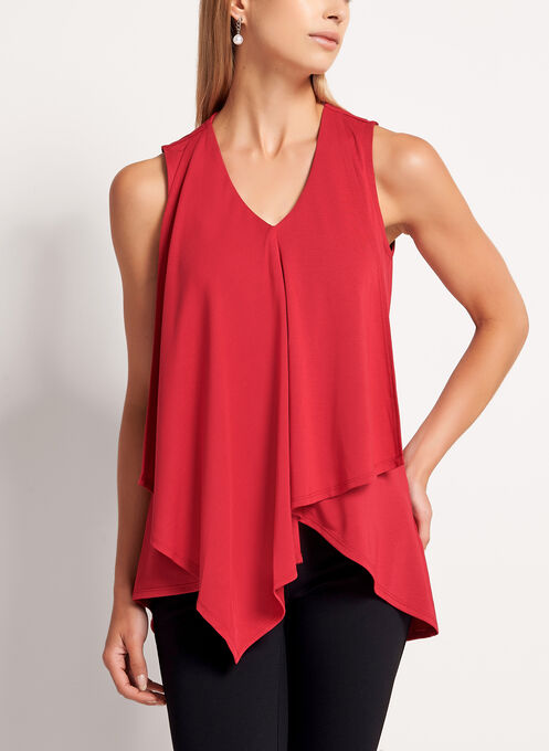 Sleeveless Asymmetric V-Neck Blouse, Red, hi-res