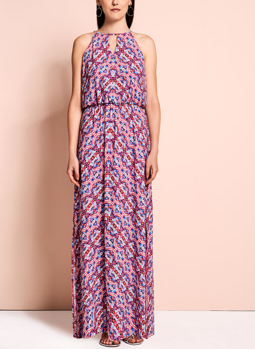 Maggy London - Robe maxi à motif abstrait, Multi, hi-res