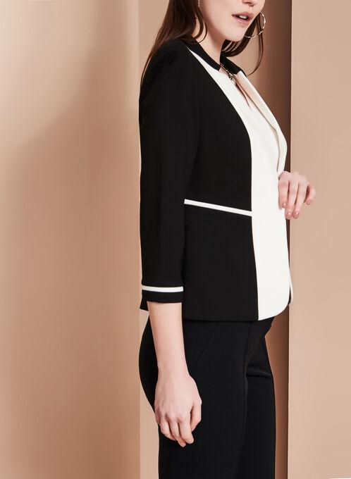 Colour Block Lapel Jacket , Black, hi-res