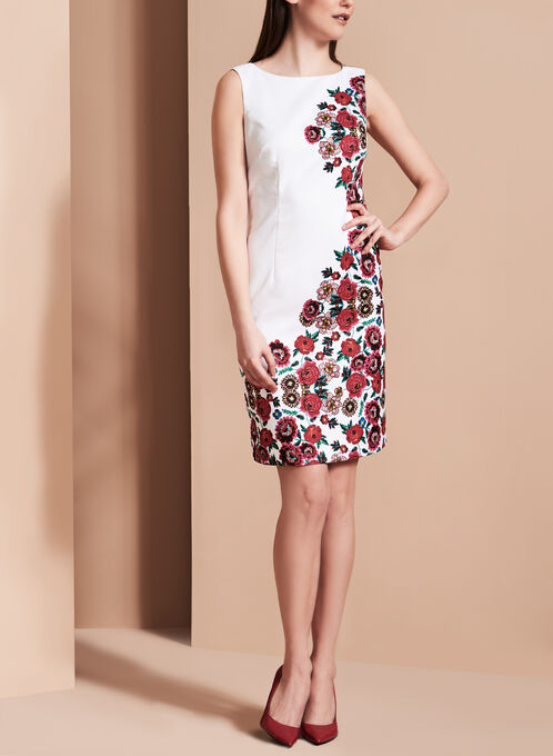 Jacquard Floral Print Sheath Dress, Red, hi-res