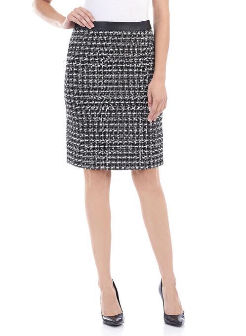 Textured Exposed Zipper Pencil Skirt , Black, hi-res