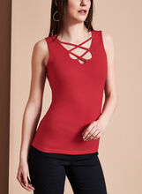 Sleeveless Lace Up Camisole, Red, hi-res