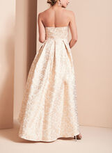 High-Low Beaded Brocade Gown , Gold, hi-res