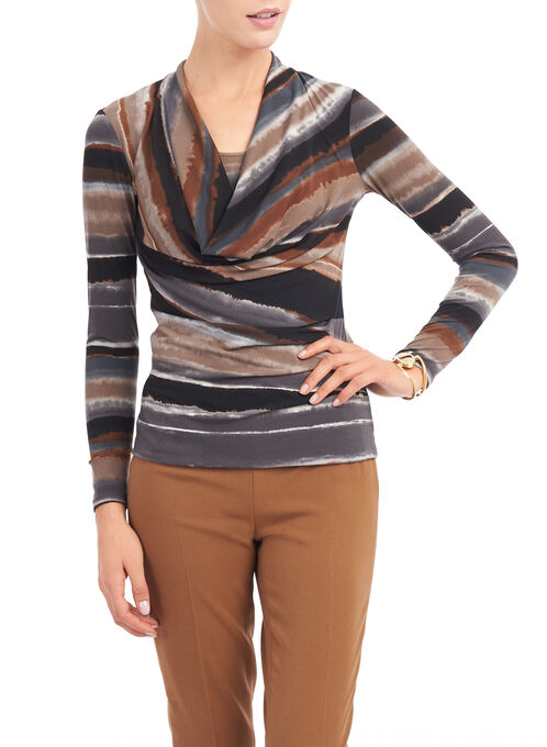 Stripe Print Draped Front Top, Grey, hi-res