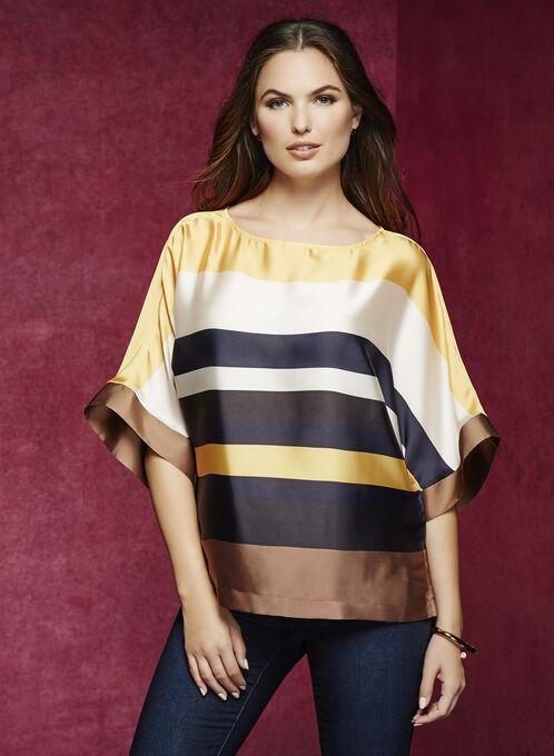 3/4 Sleeve Kimono Blouse, Yellow, hi-res