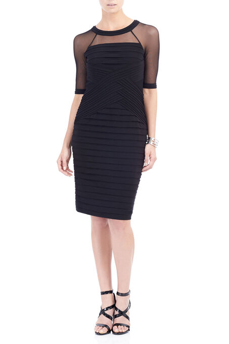 Adrianna Papell Criss Cross Dress, Black, hi-res