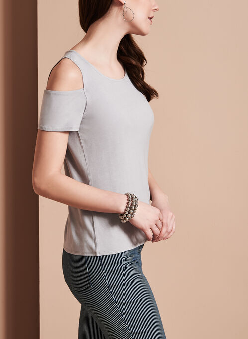 Crew Neck Cold Shoulder Top, Silver, hi-res
