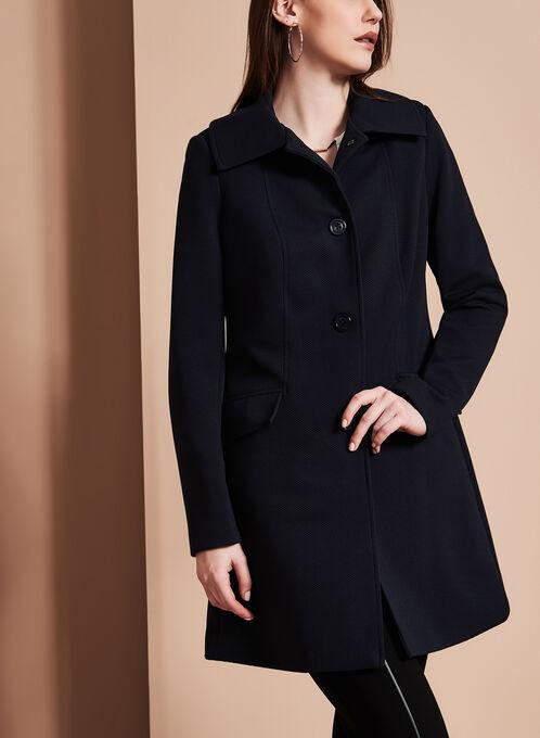Manteau texturé Nuage à gros boutons, Bleu, hi-res