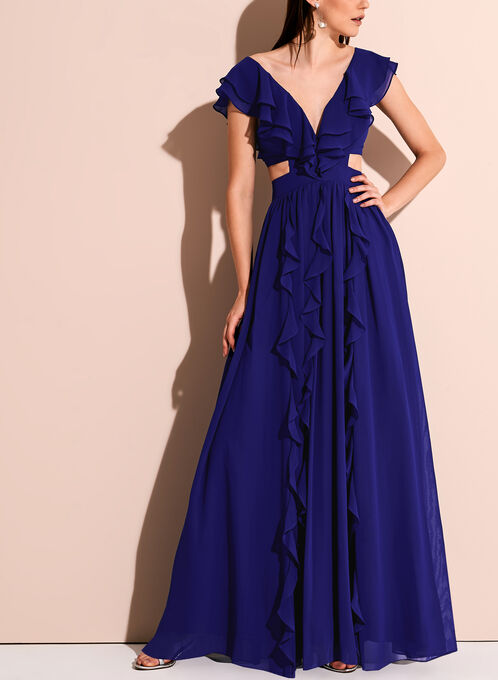Chiffon Ruffle Trim V-Neck Gown, Blue, hi-res