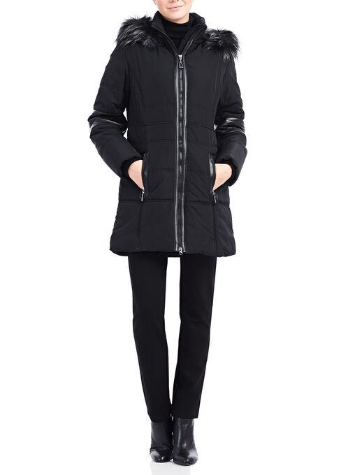 Faux Fur Polyfill Jacket, Black, hi-res