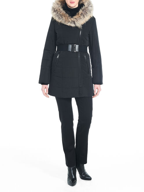 Fur Trim Shawl Collar Belted Coat, Black, hi-res