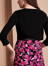 3/4 Sleeve Knit Bolero, Black, hi-res