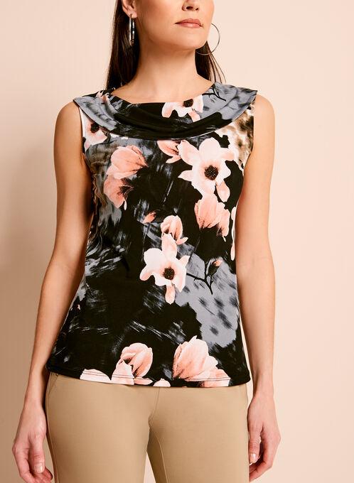 Drape Front Floral Print Top, Black, hi-res