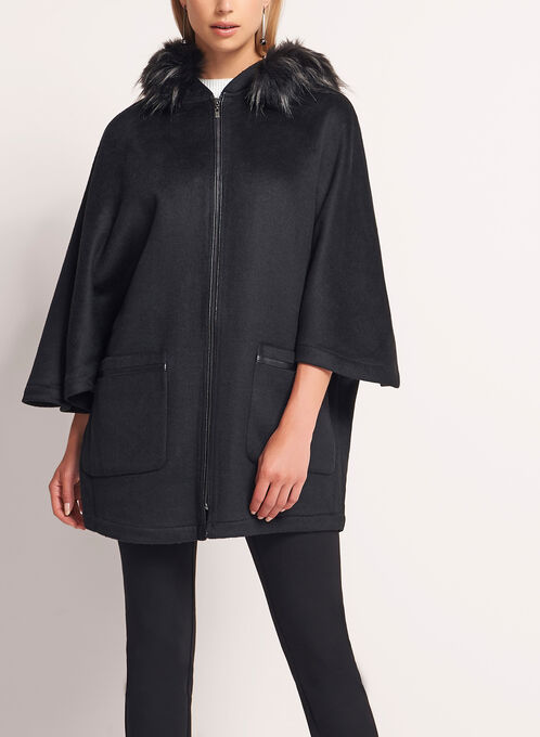 Double Face Hooded Cape, Black, hi-res