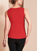 Sleeveless V-Neck Top , Red, hi-res