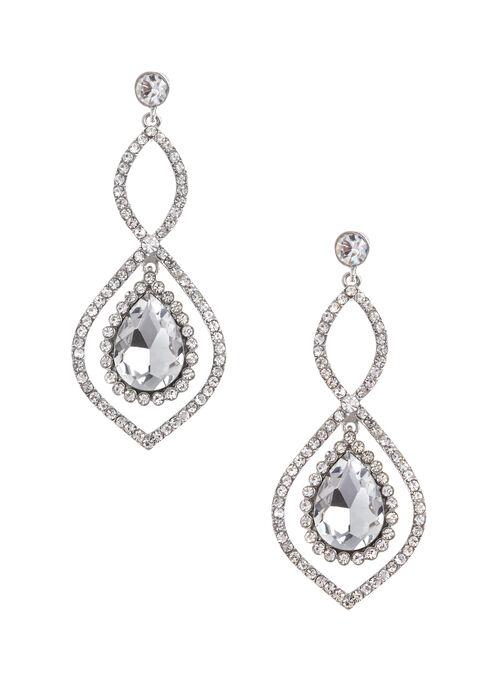 Boucles d'oreilles chandelier à cristaux, Argent, hi-res