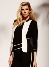 Colour Block Lapel Jacket , , hi-res