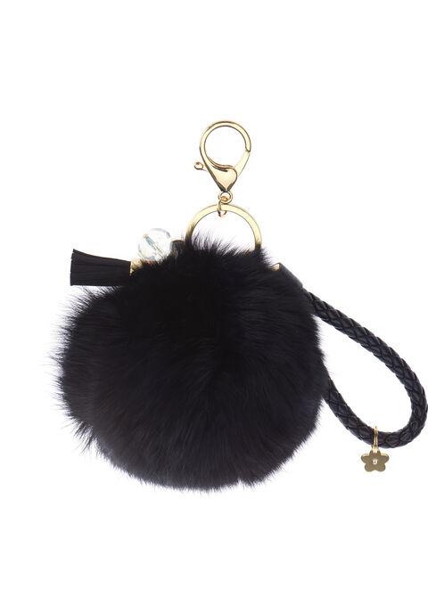 Braided Rabbit Fur Key Chain, Black, hi-res