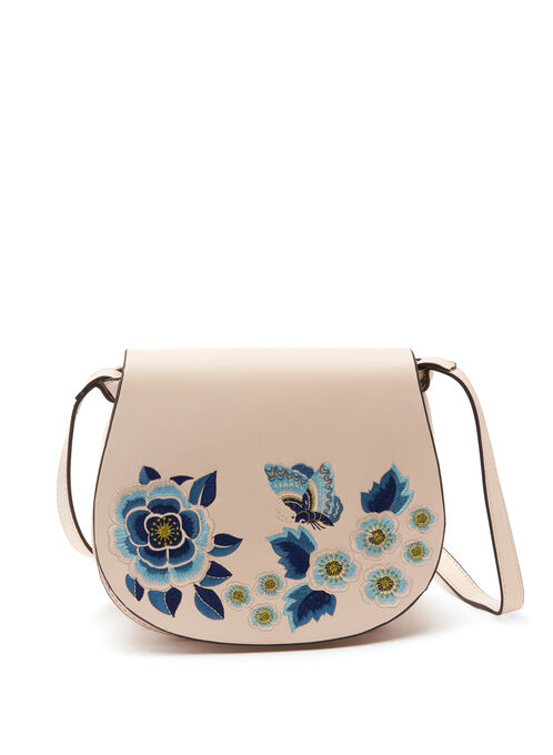 Embroidered Saddle Bag, Off White, hi-res
