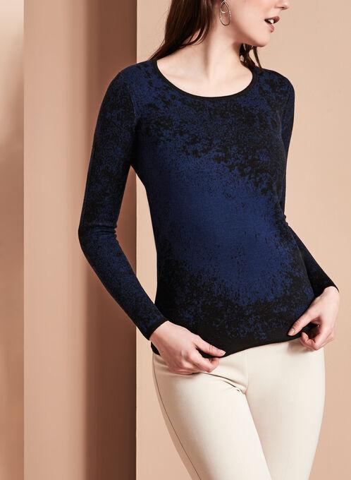 Jacquard Print Knit Sweater, Blue, hi-res