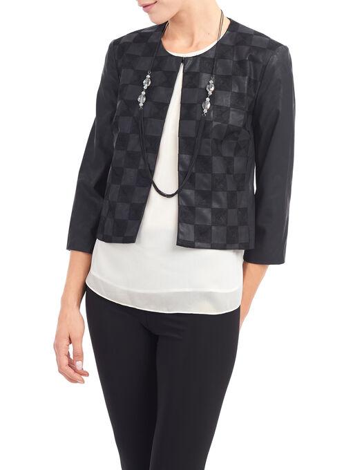 Vex Faux Leather Blazer, Black, hi-res