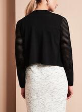 Knit Drape Front Bolero, Black, hi-res