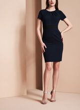 Adrianna Papell Pleated Neck Dress, Blue, hi-res