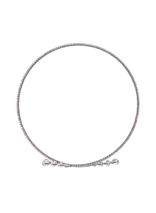 Crystal & Stone Collar Necklace, Grey, hi-res
