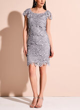 Tiered Floral Lace Dress, Purple, hi-res