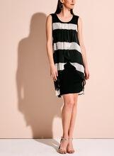 Frank Lyman Stripe Print Capelet Dress, Black, hi-res