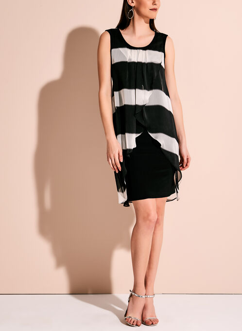 Frank Lyman Stripe Print Capelet Dress, Black, hi-res